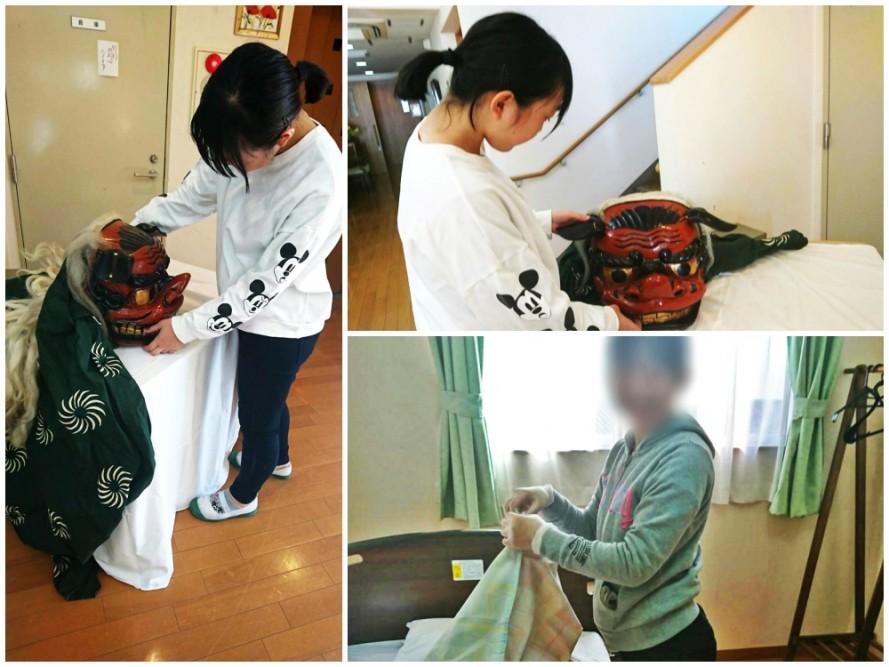小山田中学校の生徒さんがボランティア
