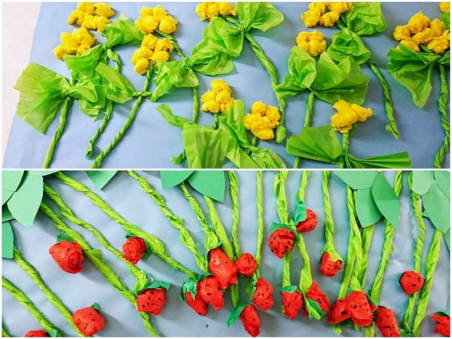 菜の花とイチゴ