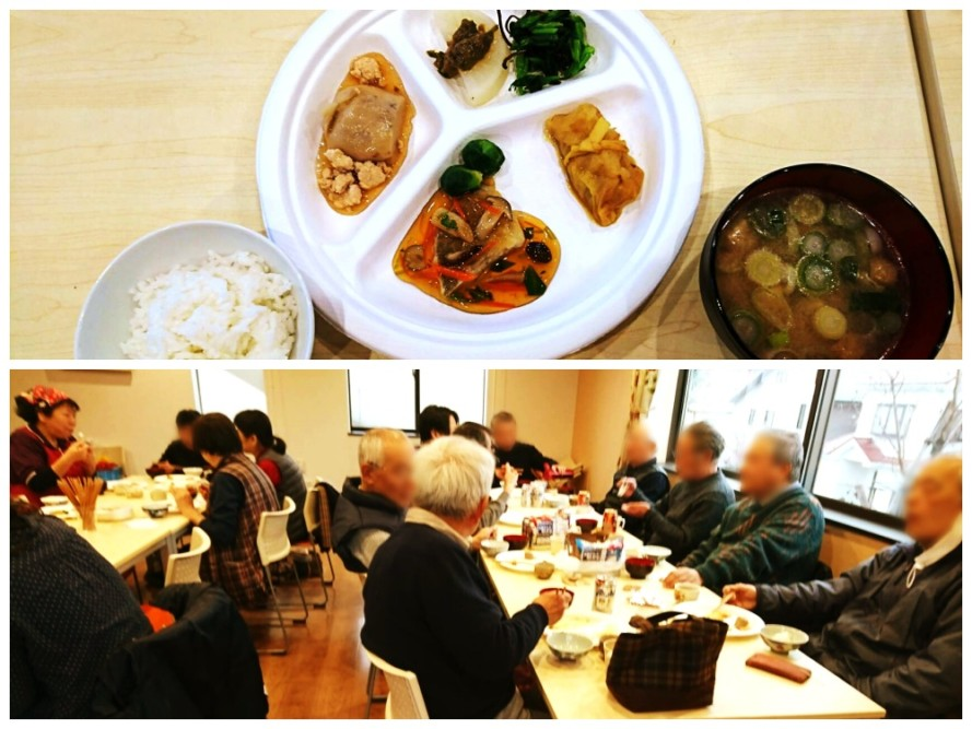 2月の地域サロンは、ぬくもりの園の調理職員が調理した「冬の清住御膳」でした
