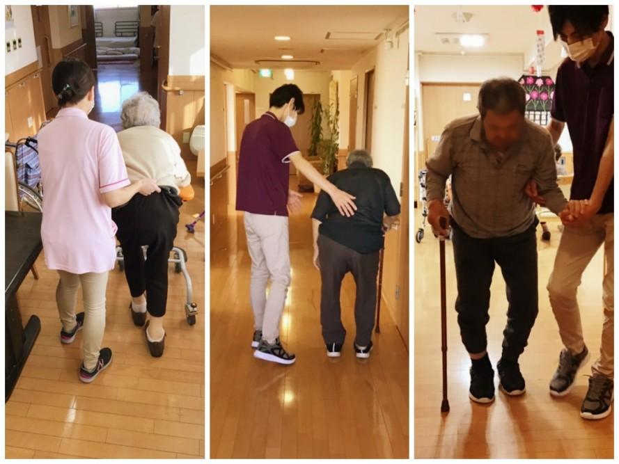 機能訓練指導員や介護職員による簡単な体操や歩行練習