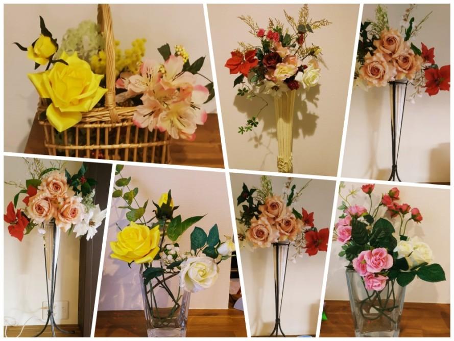 お花を冬バージョンに入れ替え
