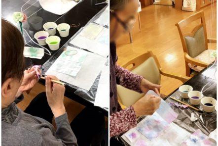 紫陽花の装飾品作り